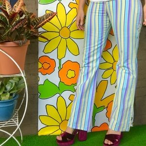 Vintage 70s style candy striped flares retro pants